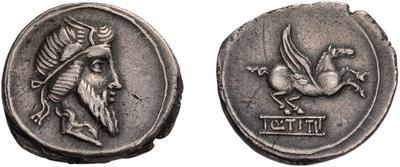 Denario de la gens Titia. Q. TITI.  Pegaso a dcha. Roma. 49079112
