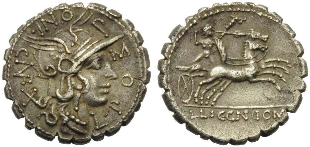 Denario de la gens Pomponia. L. LIC. CN DOM. Marte desnudo (o guerrero galo –Bituitus?) estante en biga a dcha. Narbo. 49419510