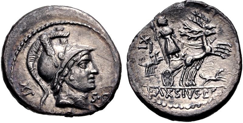 Denario de la gens Axia. L AXSIVS L F. Diana en biga de ciervos a dcha. Roma. 49514310