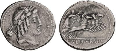 Denario de la gens Julia. L. IVLI. BVRSIO. Victoria guiando cuádriga a galope a dcha. Roma. 52632210