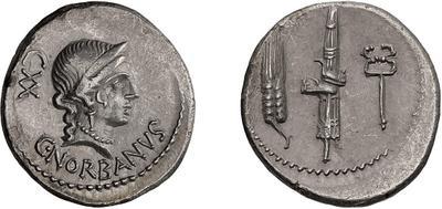 Denario de la gens Norbana. Espiga, hacha con fasces y caduceo. Roma. 52632211
