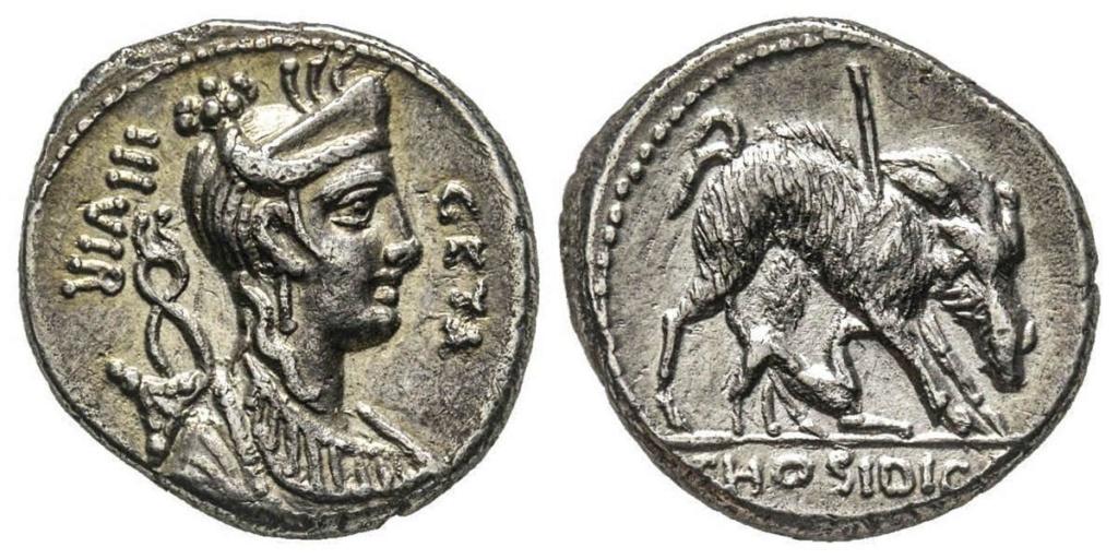 Denario de la gens Hosidia. HOSIDI C. F. El jabalí de Calidonia herido a dcha. Roma. 64925310