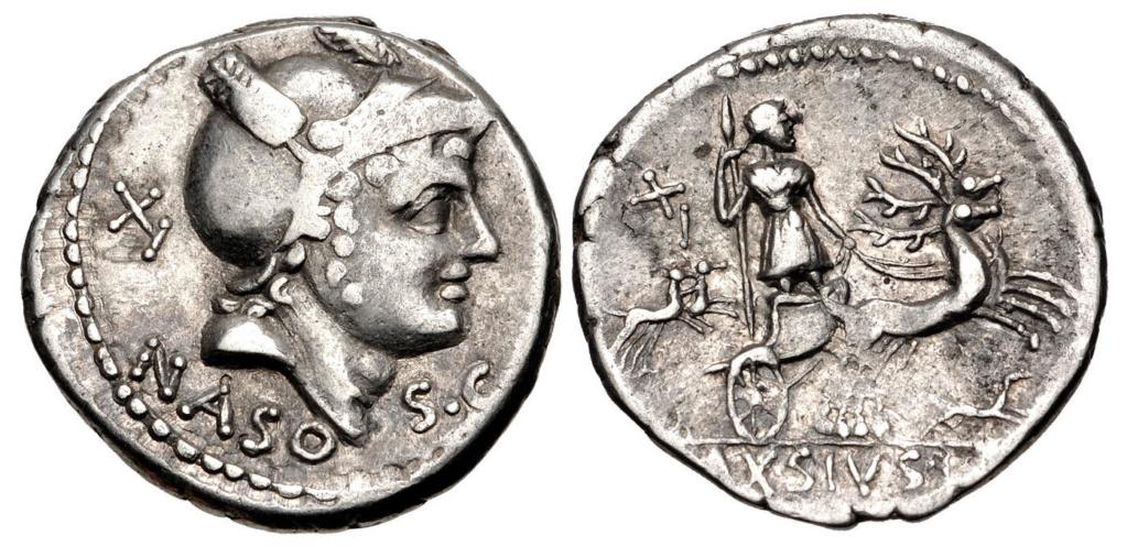 Denario de la gens Axia. L AXSIVS L F. Diana en biga de ciervos a dcha. Roma. 67601710