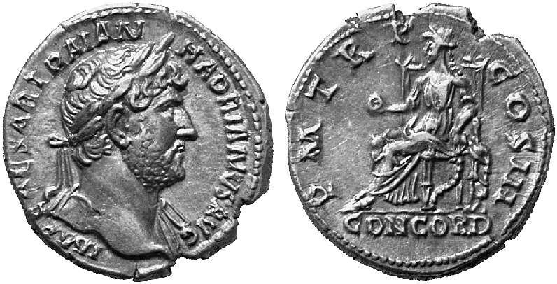 Denario de Adriano. P M TR P VI COS II / CONCORD. Roma. 6920810