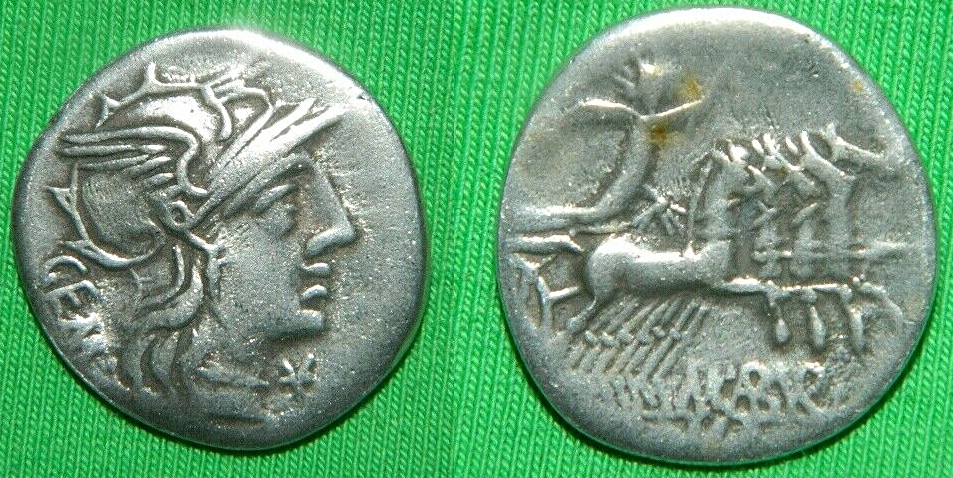 Dudas denario republicano. Familia Aburia. Canto con restos de bebedero. Aburia10