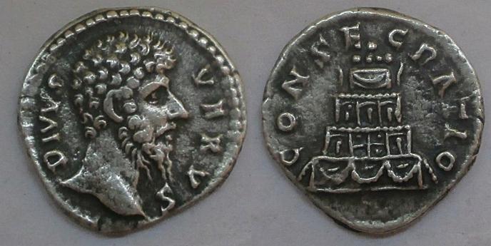 Denario póstumo de Lucio Vero. CONSECRATIO. Pira funeraria. Roma B-horz10