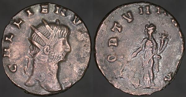 Antoniniano de Galieno. FORTVNA REDVX. Fortuna estante a izq. Roma Erf_ri10