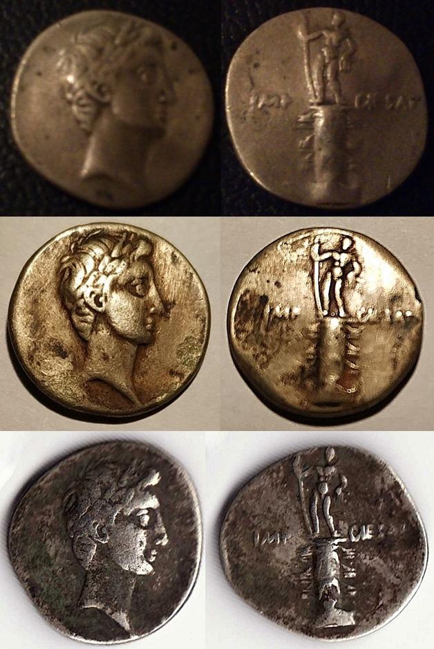 Denario de Augusto. IMP CAESAR. Columna rostral. Roma?, Brundisium?. Julia_15