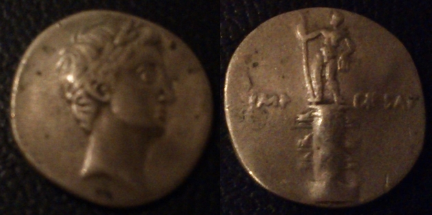 Denario de Augusto. IMP CAESAR. Columna rostral. Roma?, Brundisium?. Julia_29