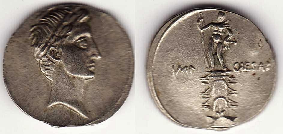 Denario de Augusto. IMP CAESAR. Columna rostral. Roma?, Brundisium?. Julia_30