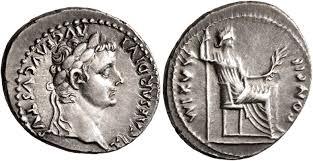 Denario de Tiberio. PONTIF MAXIM. Livia sedente a dcha. Lyon Ric_2610