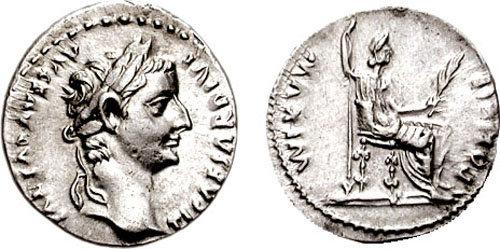 Denario de Tiberio. PONTIF MAXIM. Livia sedente a dcha. Lyon Ric_2810