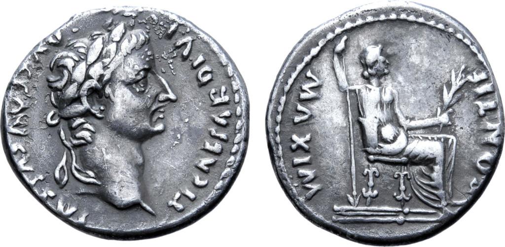 Denario de Tiberio. PONTIF MAXIM. Livia sedente a dcha. Lyon Ric_2811