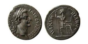 Denario de Tiberio. PONTIF MAXIM. Livia sedente a dcha. Lyon Ric_3010