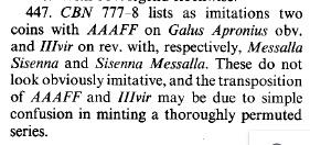 Cuadrante de Augusto, MESSALLA SISENNA III VIR / GALVS APRONIVS AAAFF, Roma, 9 aC. Ric_4410