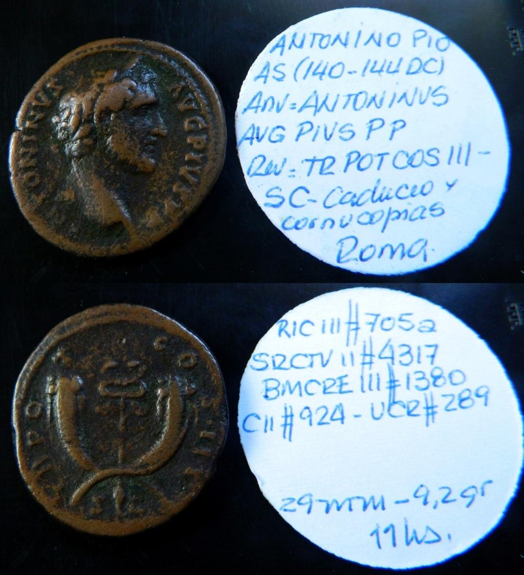 As de Antonino Pío. TR POT COS III S C. Dos cornucopias cruzadas. Roma. Ric_7010