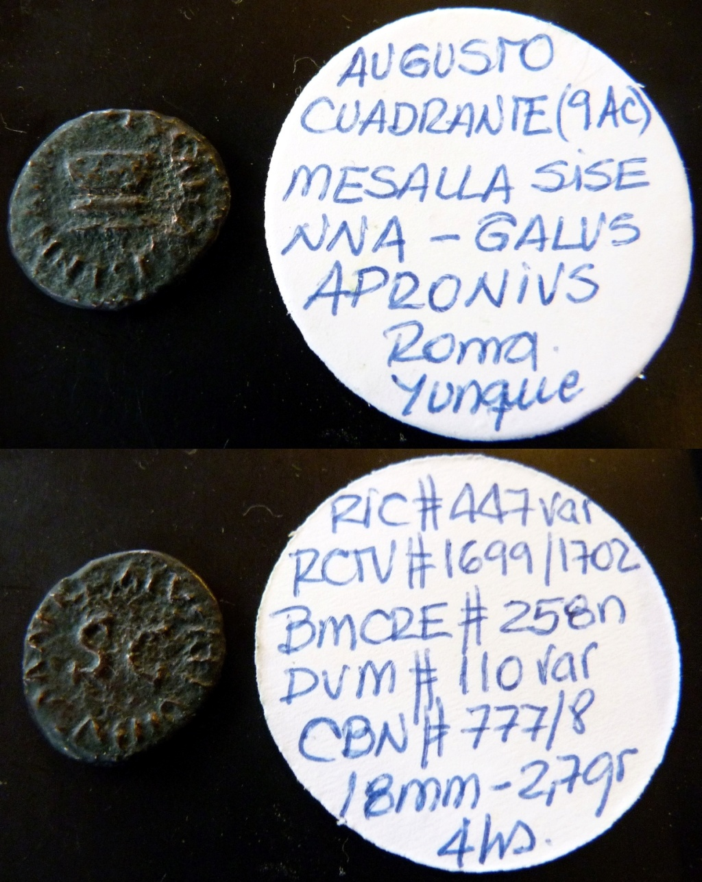 Cuadrante de Augusto, MESSALLA SISENNA III VIR / GALVS APRONIVS AAAFF, Roma, 9 aC. Ric_i_17