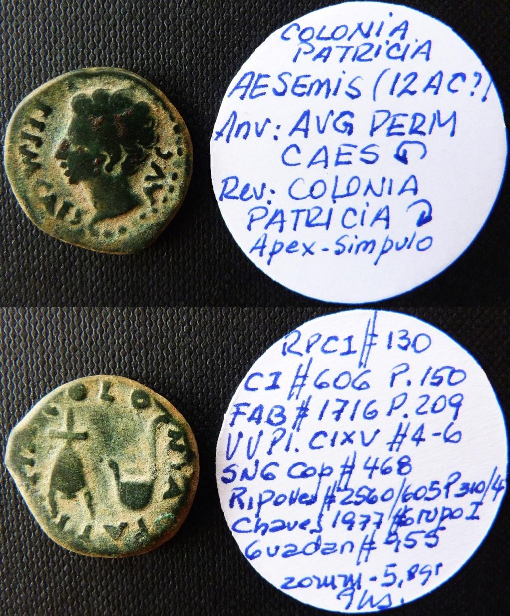 Semis de Colonia Patricia, época de Augusto. COLONIA PATRICIA. Gorro flamíneo y símpulo. Rpc_1310