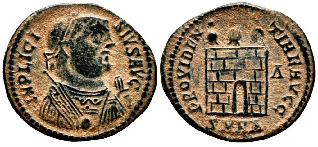 Nummus de Licinio I. PROVIDENTIAE AVGG. Puerta de Campamento. Heraclea Screen11