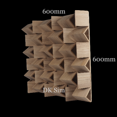 Full Frequency Wood Acoustic Diffuser FRATAL PYRAMID 36 (NEW) Fratal13
