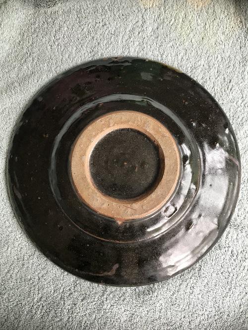 tenmoku glazed charger - maker? Img_9512