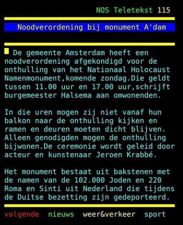 Monument Holocaust Amsterdam en flatbewoners mogen niet kijken van Halsema