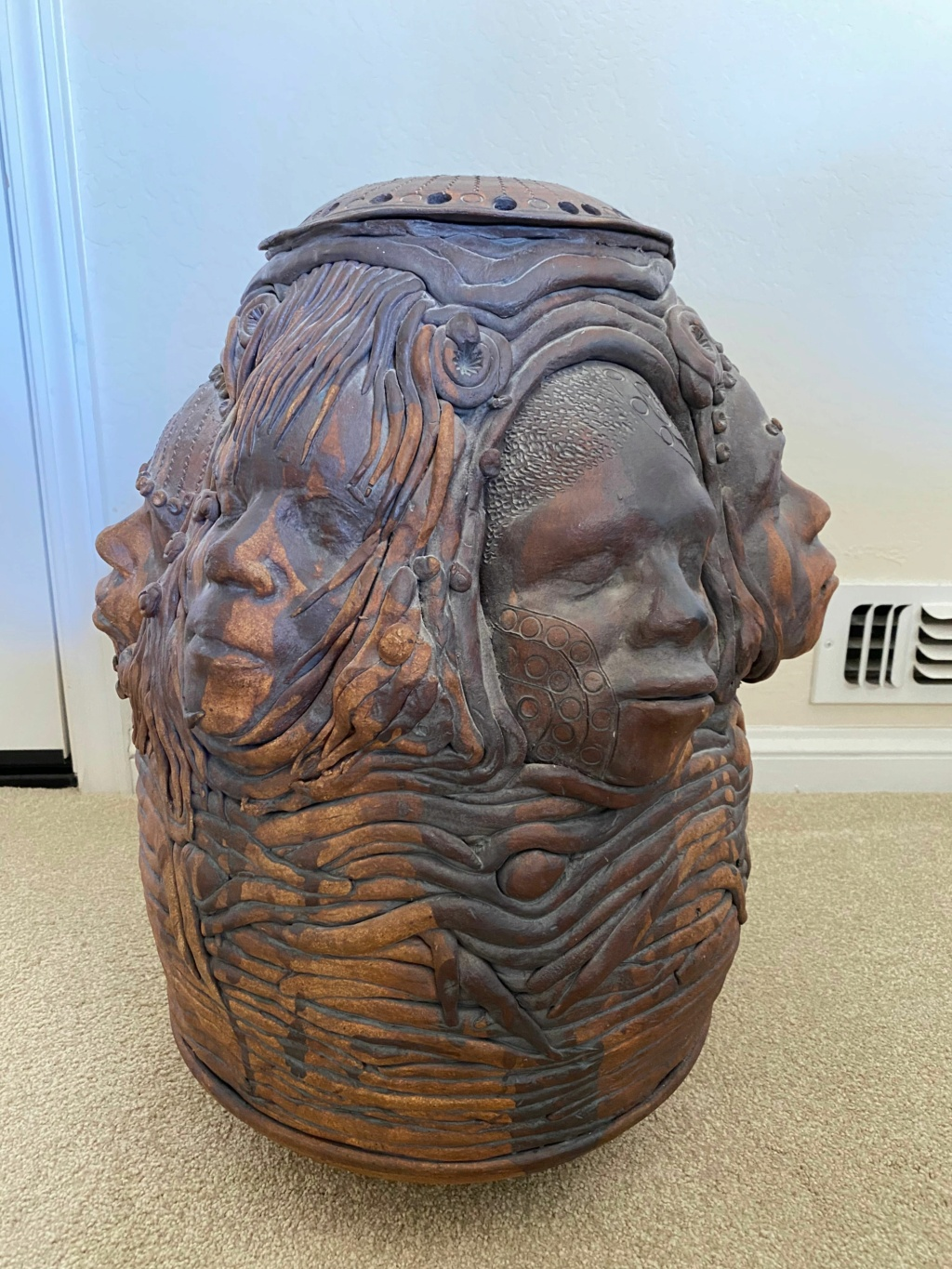 Grandma's African coin pot (large, hand coiled, six unique faces) Many_f10
