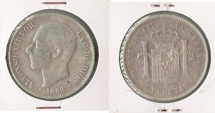 5 pts de Alfonso XII (Madrid, 1882 d.C) Alfons10
