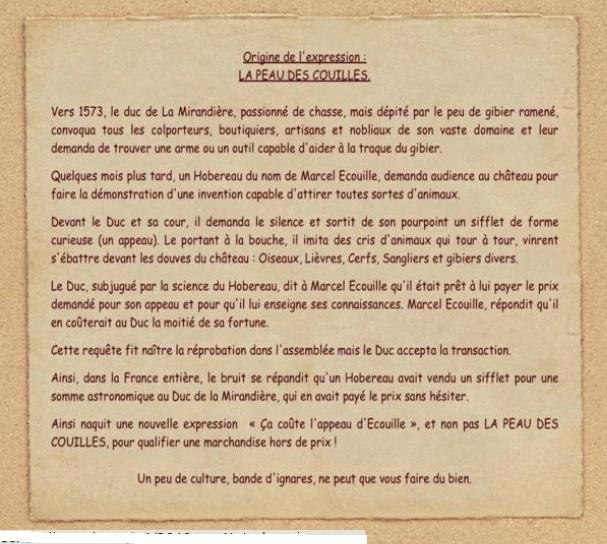 culture: origine de l'expression l'appeau d' Ecouille Apodec11