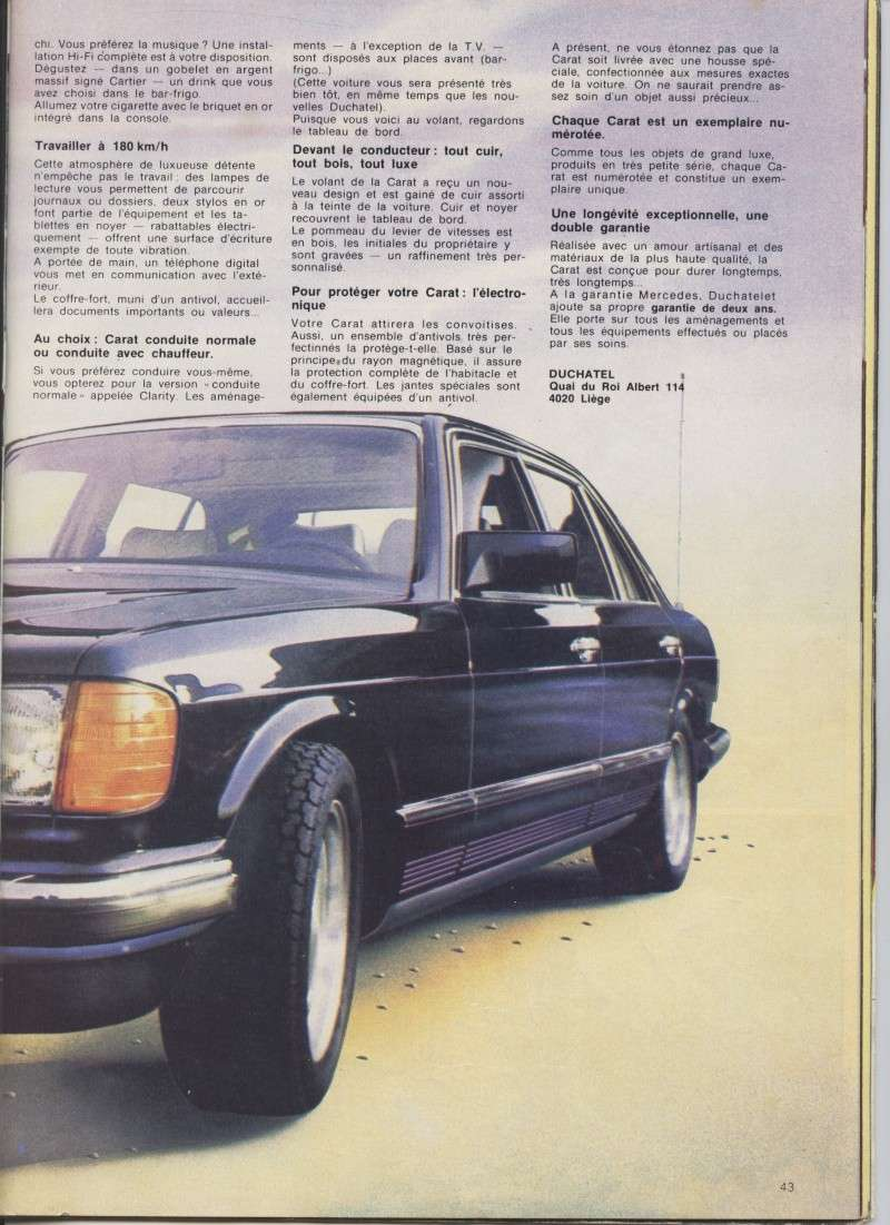"(W126): Modelo especial ""CARAT"" da francesa DUCHATELET Image24"