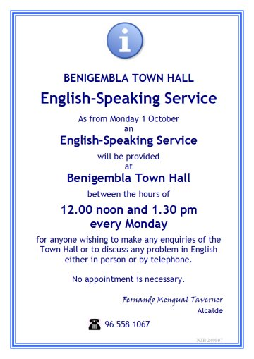 English speaking service in Benichembla Town Hall Englis10