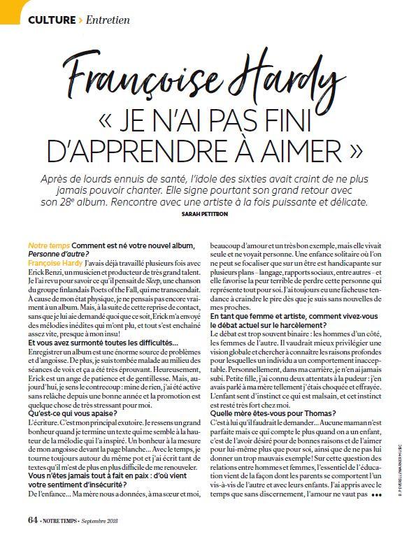 Sept. 2018 - Françoise Hardy puissante et délicate (Notre temps n°585) 113