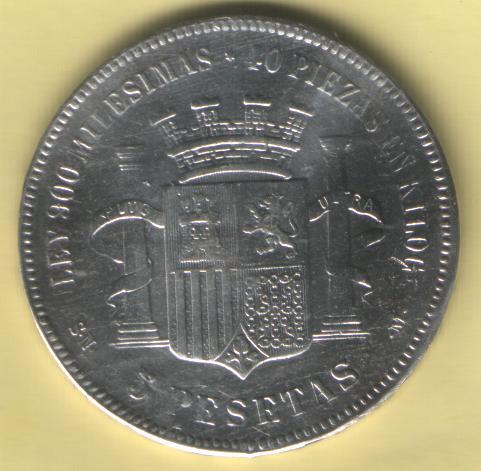 3 Duros I Republica (Madrid, 1869 d.C) Falsos 69-10