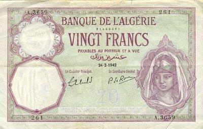 Emissions d'Algérie en billet avant 1962 Alg00910