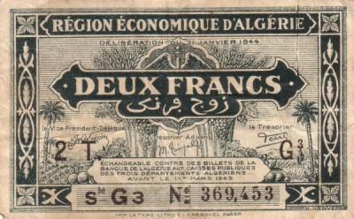 Emissions d'Algérie en billet avant 1962 Alg01011