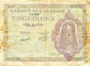 Emissions d'Algérie en billet avant 1962 Alg09210