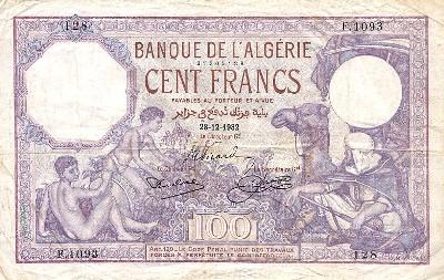 Emissions d'Algérie en billet avant 1962 Algeri20