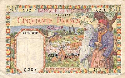 Emissions d'Algérie en billet avant 1962 Algeri22