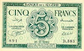 Emissions d'Algérie en billet avant 1962 Algeri32