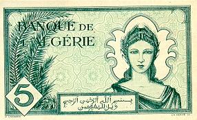 Emissions d'Algérie en billet avant 1962 Algeri33