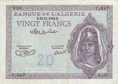 Emissions d'Algérie en billet avant 1962 Algeri34