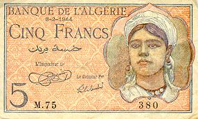 Emissions d'Algérie en billet avant 1962 Algeri36