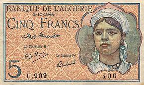 Emissions d'Algérie en billet avant 1962 Algeri38