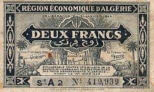 Emissions d'Algérie en billet avant 1962 Algeri44