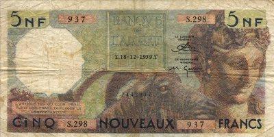 Emissions d'Algérie en billet avant 1962 Algeri56