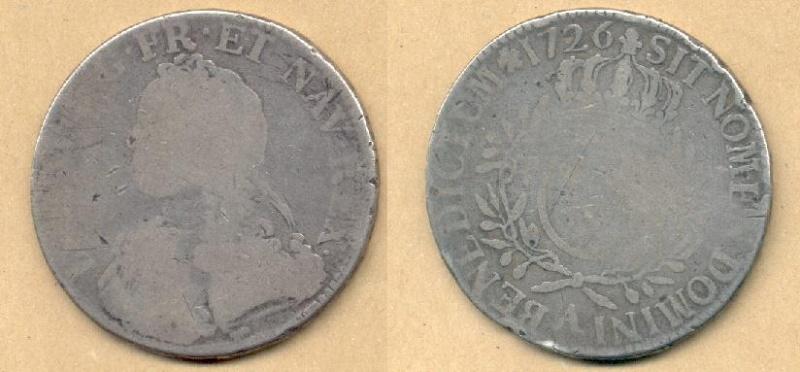 Escudo de plata de Luis XV, 1726 Escudo10