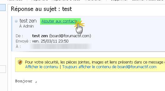 Problème de réception des notification par mail 20-04-17