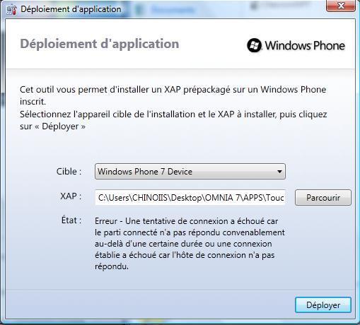 [AIDE]Probleme pour installer un fichier XAP 110