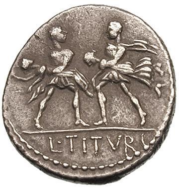 EL RAPTO DE LAS SABINAS (Denario gens Tituria). 117