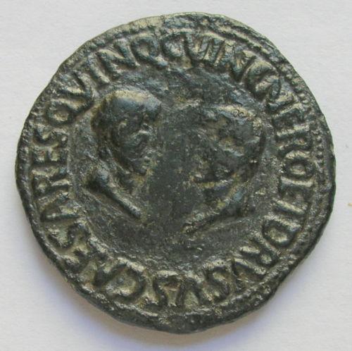 As de Cartagonova por Tiberio (con Nerón y Druso). 125